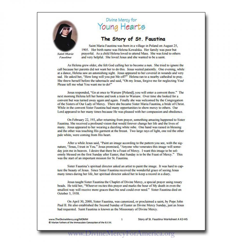 picture about How to Pray the Rosary for Kids Printable known as Divine Mercy Worksheets Things to do for Little ones CD-ROM